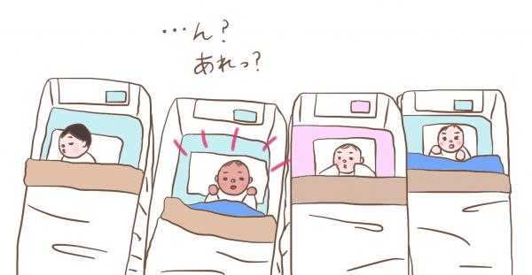 他の赤ちゃんと並んで眠るかずぼーの画像