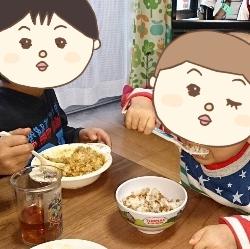 納豆ご飯を食べるかずぼー